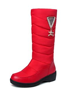 Aisun Womens Warm Non Slip Round Toe Thick Sole Platform Low Heels Slip On Mid Calf Snow Boots Shoes Red 45 BM US * You can find out more details at the link of the image.