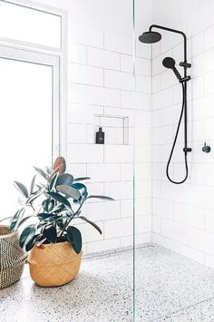 Terrazzo: The trend that isn't going away. Meet the minimalist pattern we are mad about this spring. With its subtle pastel tones and infinite variations, Terrazzo is the perfect way to introduce… Minimal Bathroom, Home Trends, Laundry In Bathroom, Trendy Bathroom, Modern Shower, Bathroom Flooring, Bathrooms Remodel, Bathroom Inspiration, Tile Bathroom