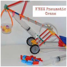 Easy K'nex pneumatic crane, fun engineering project #Science #Scienceforkids