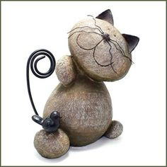 Whimsical Resin ROCK SCULPTURE CAT and BIRD Figurine