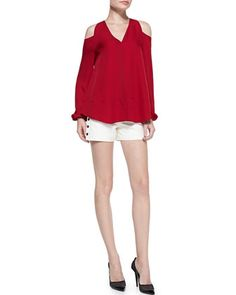 Silk Cold-Shoulder Blouse & Leather Shorts with Snap Sides by Tamara Mellon at Bergdorf Goodman.