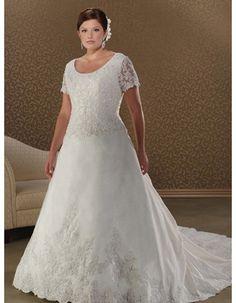 Custom A-Line Floor Length Satin Plus Size Wedding Dresses with Short  Sleeves Plus Size bffd46c9b48e