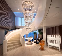 Custom chandeliers at their finest for the Spa area onboard Celebrity Edge