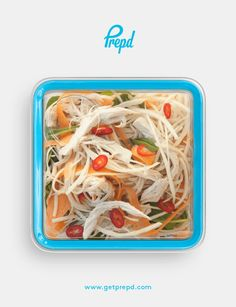 Poached lean protein with brown rice noodles for slow-release carbohydrates and crunchy veg brought together with a kick of chilli & sweet, creamy coconut.