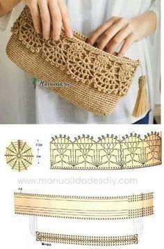 Discover thousands of images about Best 12 Purse bag crochet pattern salvabrani – Artofit Beau Crochet, Crochet Lace Edging, Crochet Diagram, Crochet Stitches, Free Crochet, Clutch En Crochet, Crochet Wallet, Crochet Backpack, Crochet Crafts