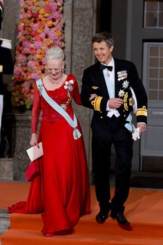 Queen Margrethe of Denmark with her son Crown Prince Frederik of Denmark leave the Royal Chapel at The Royal Palace in Stockholm after the wedding of...