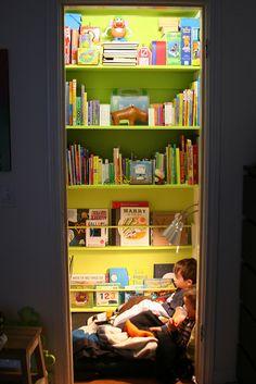 How wonderful ~ Closet reading nook! :-)