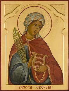 Cecilia, icon by Marek Czarnecki Religious Images, Religious Icons, Religious Art, Santa Cecilia, St Cecelia, Sainte Cecile, Pagan Gods, Byzantine Icons, Orthodox Icons