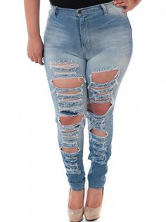 Plus size ripped jeans from Kouture Konnections Boutique on Wanelo