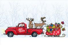 #kerst #kaart #kerstkaart #merry #christmas #fuif #card #auto #slee #rendier #rood #sneeuw #bomen #busje #cadeau