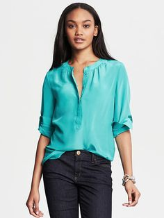 Banana Republic | Silk Snap-Front Blouse
