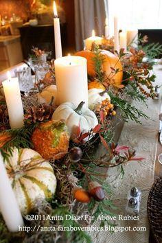 Thanksgiving table   Centerpiece   Wooden box centerpiece   Pumpkins