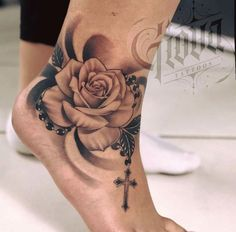 17 tattoos design for women, – foot tattoos for women flowers Rosary Foot Tattoos, Foot Tattoos Girls, Cute Foot Tattoos, Small Foot Tattoos, Anklet Tattoos, Foot Tattoos For Women, Dope Tattoos, Pretty Tattoos, Tattoo Designs For Women