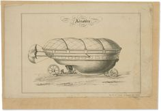 Boat-​like Vehicle on Wheels with Parachutes :: 1800s :: Tissandier Collection