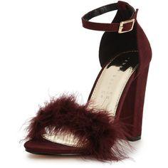 Shoe Box Velma Faux Fur Trim Minimal Block Heel Sandal&Nbsp; ($26) ❤ liked on Polyvore featuring shoes, sandals, red strappy sandals, vintage shoes, red strappy shoes, strappy block heel sandals and red shoes