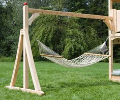 Hammock diy swing set plans ideas for playhouse, simple for kids in backyard Kids Hammock, Backyard Hammock, Hammock Stand, Backyard Patio, Hammock Ideas, Hammock Frame, Outdoor Hammock, Yard Swing, Diy Swing