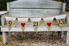 SAVE THE DATE burlap and lace banner - Engagement - Wedding Banner - Photography Prop- Red Heart - Engagement pictures via Etsy