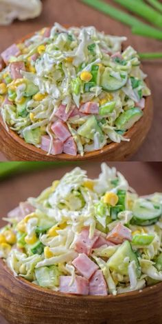 Made with fresh cabbage, cucumbers, ham, corn & scallions. This tasty, crunchy Cabbage & Ham Salad is packed with vitamins & makes a quick lunch or side dish.Cabbage ham salad- without the corn it looks delicious! Healthy Salads, Healthy Dinner Recipes, Diet Recipes, Healthy Eating, Cooking Recipes, Ham Recipes, Tasty Food Recipes, Quick Lunch Recipes, Healty Meals