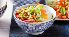 This colourful mix of rice, coriander, chilli, egg and shallot will brighten up your winter menu. Nasi Goreng, Asian Recipes, Ethnic Recipes, Rice Dishes, Main Meals, A Food, Food Processor Recipes, Vegetarian, Cooking