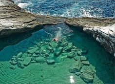 today we are dreaming of a long and relaxing swim in natural pool like this one in What about You? Incredibly Beautiful Natural Pool in Thassos, Giola Lagoon, Greece Vacation Destinations, Dream Vacations, Vacation Spots, Vacation Travel, Places To Travel, Places To See, Tourist Places, Places Around The World, Around The Worlds