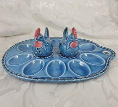 Vintage Knobler Japan Blue Deviled Egg Plate w Hen S&P Orig. Label