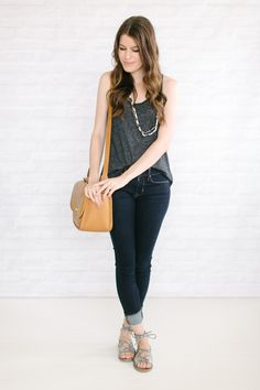 Capsule #3 / Outfit 15 Hey Saturday, come over here and meet your perfect outfit.Racerback tank + skinny jeans + flat sandals that have a little party going on. What are you doing this weekend? My...