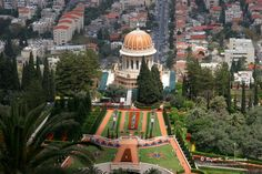 Terraces at the Shrine of the Bab viewed from Mt. Carmel, Haifa,  UNESCO World Heritage Site