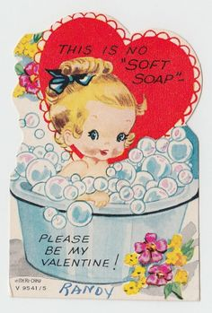 Vintage Greeting Card Valentine's Day Cute Girl Bath Tub bubbles