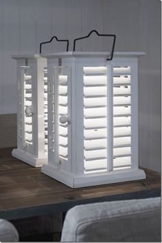 Shutter Lamps @ Riviera Maison    SO EASY TO MAKE! craft stores sell for 22.00