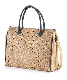 Eve Handbag - Agra Tote, Beige with Blue Triangle Design #Handbag #SustainableFashion #CrueltyFree #EcoFriendly #Cork #TemptedByNature