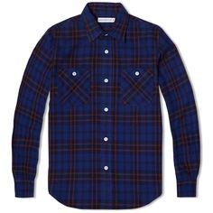 cb98fe56692a Head Porter Plus Print Check Shirt (Navy)