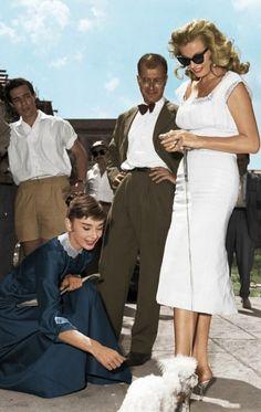 #Fifties | Audrey Hepburn takes a break on the set of War and Peace with Swedish actress Anita Ekberg, 1955.