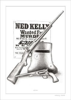 NED KELLY WANTED DRAWING