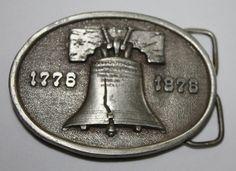 Vintage Belt Buckle, Bergamot Brass Works Liberty Bell, 1975. $10.00, via Etsy.