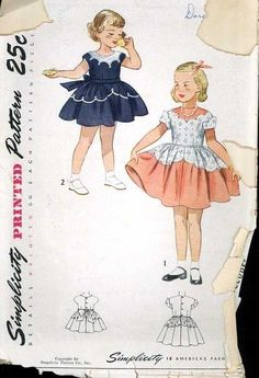 1950\'s Simplicity 3179 Vintage Sewing Pattern Girls Scalloped Accent Dress sz 3