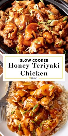 Easy honey teriyaki chicken in the slow cooker. - ChickenEasy honey teriyaki chicken in the slow cooker. Use your crock pot to make this simple meal. Like your favorite stir fry only with a homemade honey garlic sauce kids and adults Honey Teriyaki Chicken, Teriyaki Sauce, Garlic Chicken, Asian Chicken, Teriyaki Chicken Slow Cooker, Crack Chicken, Bbq Chicken, Fried Chicken, Crockpot Honey Chicken