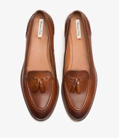 Leather Tassel Loafers by Massimo Dutti