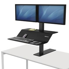 Fellowes Lotus VE Dual Monitor Sit-Stand Workstation Sit Stand Workstation, Sit Stand Desk, Sit To Stand, Tabletop, Dual Monitor, Lotus, Desktop, Privacy Panels, Office Workstations