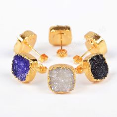 3&5Pairs Pretty 12mm Gold Plated Square Purple Color Agate Druzy Geode Stud Earrings Golden Electroformed Gemstone Geode Druzy Jewelry G0618 by Druzyworld on Etsy