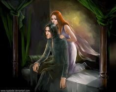 After Midnight by ~Ngaladel on deviantART - a ghostly Lily giving a tired Snape the strength to carry on.