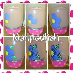 Deco                                                                                                                                                                                 Más Nail Tip Designs, Nail Art Designs Videos, Basic Nails, Floral Nail Art, Pedicure Nail Art, Funky Nails, Fabulous Nails, Flower Nails, Creative Nails