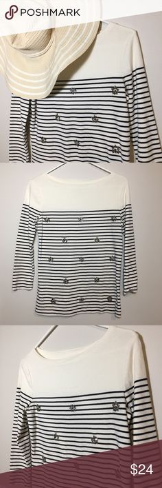 "Talbots Boatneck Striped Nautical Embellished Top Talbots Boatneck Striped Nautical Embellished Sparkle Buttons Top Size small New without tags   DETAILS Navy and white Embellished ¾ sleeve 100% cotton Nautical theme with extra detailing   MEASUREMENTS Bust: 32"" Sleeve: 12"" Length: 22.5""   Let me know if you have any questions! Talbots Tops Tees - Long Sleeve"