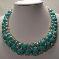 "New Fashion Bib Statement Necklace In Turquoise And Gold NOT FOR CHILDREN UNDER 12 With No Tags Type: Necklace Approximately 16"" Long    Materials:  Acrylic, Metal & Rhinestones     Condition: New Never Worn Free Delivery  No International Shipping  Nickel and Lead Compliant"
