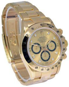 Rolex 16528 Daytona Zenith 18K Yellow Gold Diamond Dial Watch