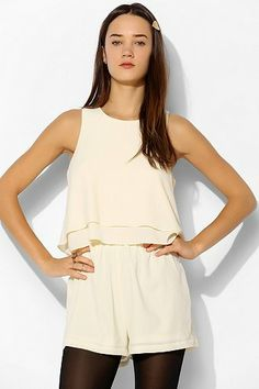 Pins And Needles Textured Ruffle-Top Romper