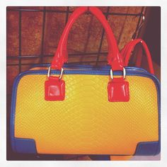 kelly brown yellow croc bag