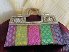 Bead handbag, clutch from India. Ethnic dress purse. Indian wedding wristlet. Embroidered, dressy evening bag. From Artkrti.