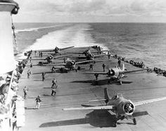 June 4, 1942: 09:00 Grumman F4F-4 Wildcats of VF-8 prepare to take off of the USS Hornet CV-8 during the   Battle of Midway. (Note: The forward aircraft (F-9) was piloted by Ens. Charles M. Kelly Jr. His plane ran out of   fuel and ditched in the ocean. Ens. Kelly's body was never found.