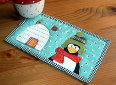 Winter Home Mug Rug - Designed and made. Love the igloo and the flag and the hat - oh I just love all of it.