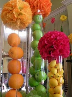 Fruit Decor. Fruit is cheaper than flowers and can still add beautiful colour to a space.